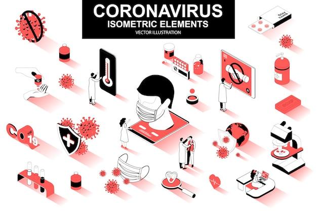 Coronavirus 3d isometrische lijnelementen