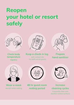 Coronavirus afdrukbare postersjabloon, vector hotel heropenen veiligheidsmaatregelen