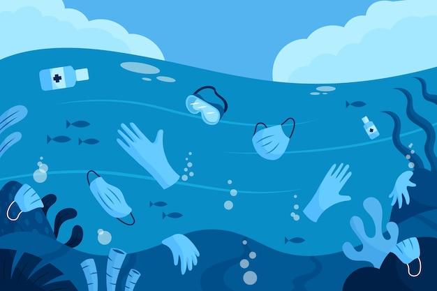 Coronavirus-afval in de oceaan geïllustreerd behang