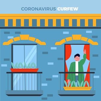 Coronavirus avondklok concept