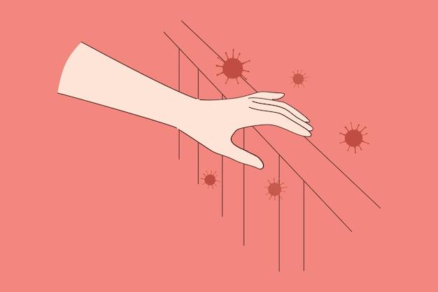 Coronavirus bacteriën gevaar concept. menselijke hand raakt oppervlak met covid-19 2019-ncov-ziektekiemen die zich verspreiden en direct fysiek contact hebben met gevaarlijke ziekten