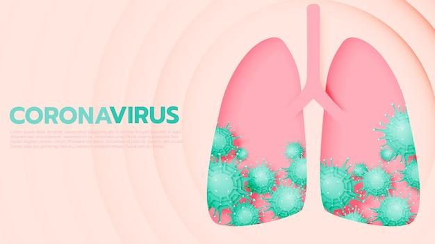 Coronavirus banner in papier kunststijl en pastel schema illustratie
