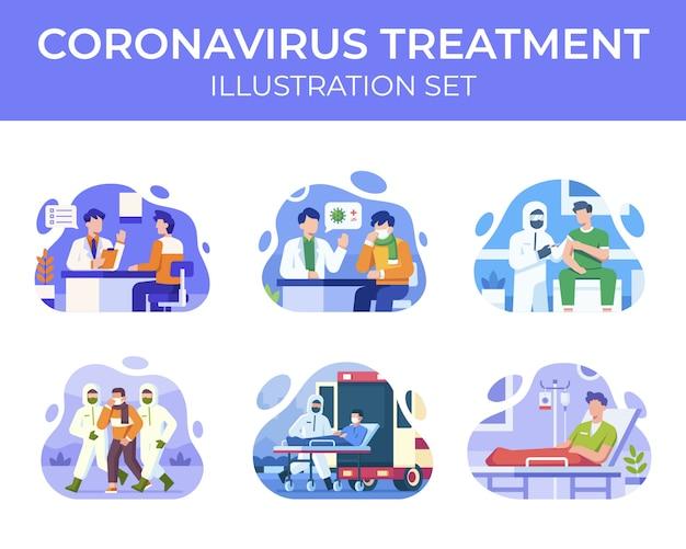 Coronavirus behandeling illustratie set