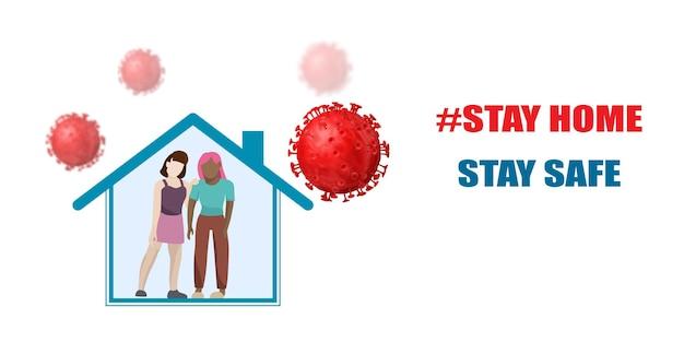 Coronavirus bescherming. blijf thuis. mensen in het huis in quarantaine en virussen in de buurt.