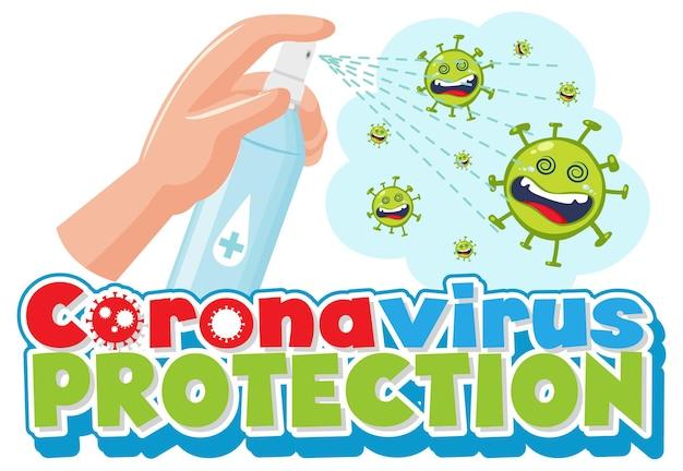 Coronavirus bescherming met handen met behulp van alcoholdesinfecterende spray