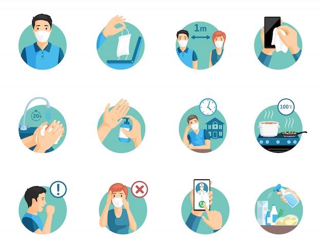 Coronavirus beschermingstips tijdens wereldwijde pandemische illustratie.