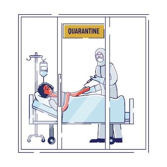 Coronavirus-besmettelijke vrouw ligt geïsoleerd in het ziekenhuis