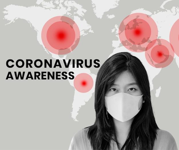 Coronavirus bewustzijn sociale sjabloon vector