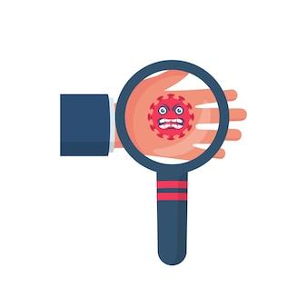 Coronavirus bij de hand. vector illustratie cartoon plat ontwerp.