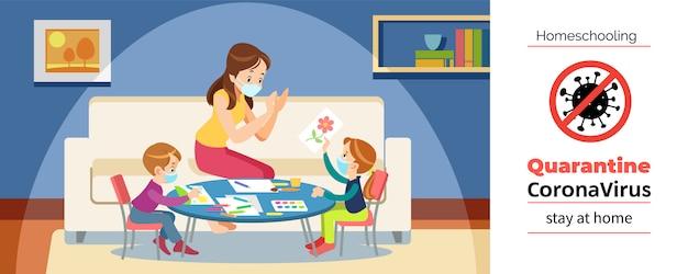 Coronavirus. blijf thuis. thuisonderwijs. moeder en kinderen schilderen in de speelkamer en dragen een beschermend masker tijdens zelfquarantaine van het coronavirus. cartoon afbeelding