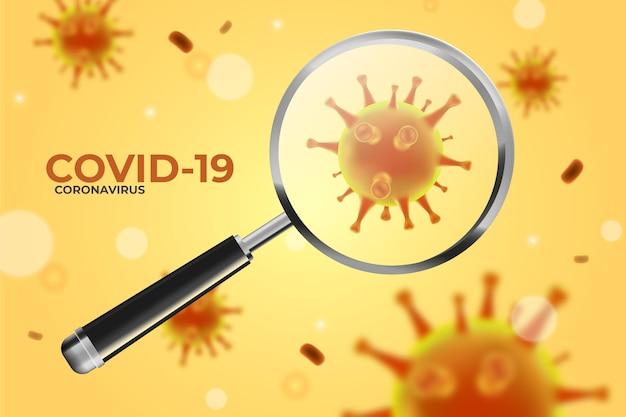 Coronavirus-cel kijkt door een vergrootglasachtergrond