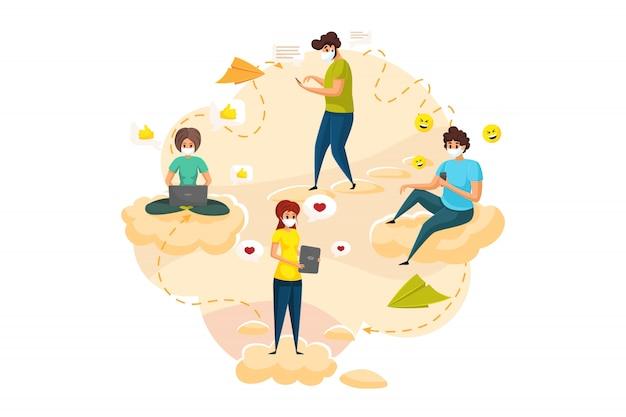 Coronavirus, communicatie, quarantaine, social media concept