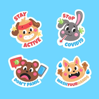 Coronavirus concept stickers met schattige dieren