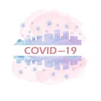 Coronavirus concept typografieontwerp, stop virus covid19, blijf thuis, aquarel geschilderd coronavirus, vectorillustratie.