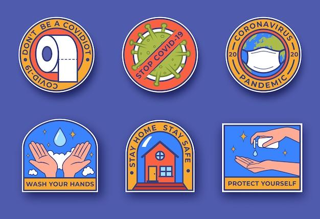 Coronavirus concept van uitbraak. covid-19 kleurrijke badges. thuis blijven met zelfquarantaine. bescherm uzelf tegen virussen, was uw handen. coronavirus pandemie
