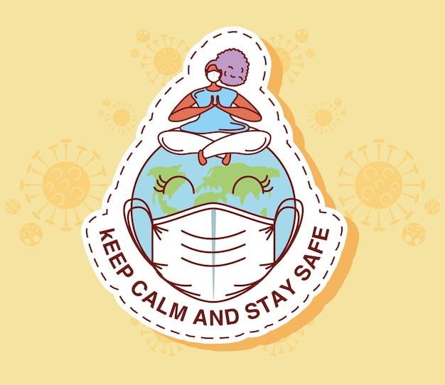 Coronavirus covid 19, blijf kalm en blijf veilig illustratie stickerpictogram