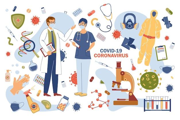 Coronavirus covid-19 concept geïsoleerde elementen set Premium Vector