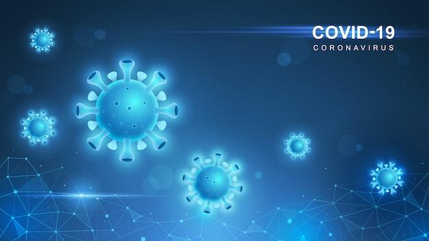 Coronavirus covid-19. coronavirus-uitbraak en influenza-achtergrond van coronavirussen. covid-19 virus. virusaanval op aarde. illustratie.