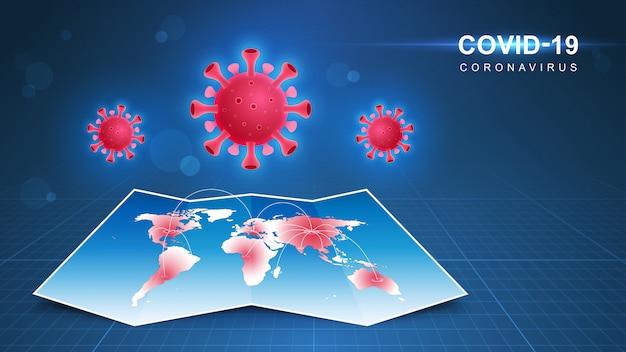 Coronavirus (covid-19. coronavirusziekte pandemie op kaart. covid-19 virus achtergrond. virusaanval op aarde. illustratie.