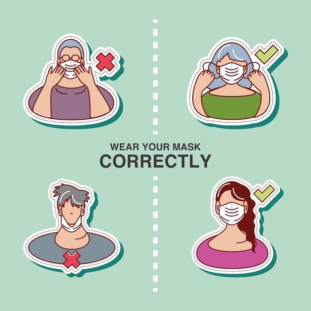 Coronavirus covid 19, draag je masker correct illustratie stickerpictogram