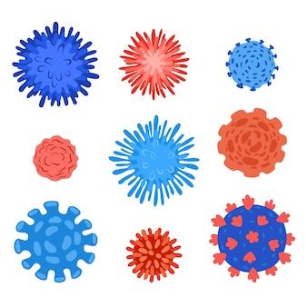 Coronavirus, covid 19, epidemische wereldwijde infectiepictogrammen ingesteld. platte set van coronavirus, covid 19, epidemische wereldwijde infectie vector iconen voor webdesign