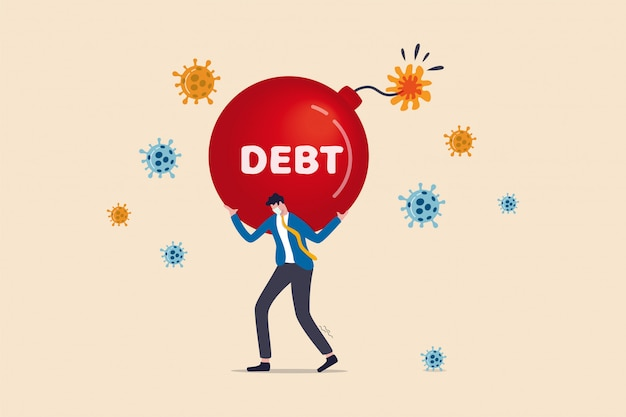 Coronavirus covid-19 pandemische schuldencrisis voor bedrijven, bedrijven en werknemers met een gebrek aan inkomstenconcept, arme zakenman kantoorman met grote schuldenexplosiebom op schouder en viruspathogeen.