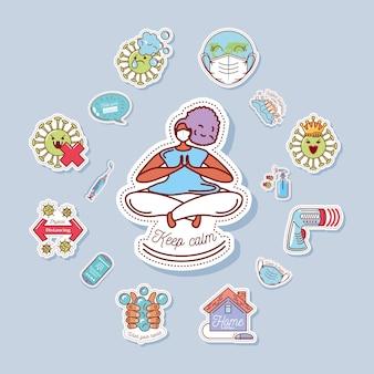 Coronavirus covid 19 pictogrammen instellen, veiligheidsmaatregelen en voorzorgsmaatregelen illustratie stickerpictogram