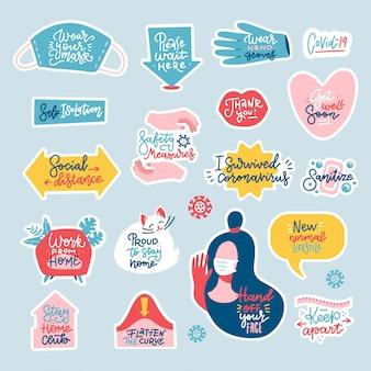 Coronavirus covid-19 preventiemaatregelen stickerset. belettering citaten. platte hand getekende stickers.