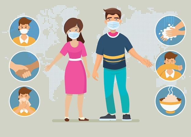 Coronavirus (covid-19) -preventies. vader en moeder leggen infographics uit, dragen een gezichtsmasker, wassen de handen, eten warm voedsel en vermijden risico-plaatsen.