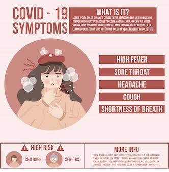 Coronavirus covid-19 symptomen en preventieconceptillustraties om infectie te voorkomen waarschuwingsinformatie verspreiden