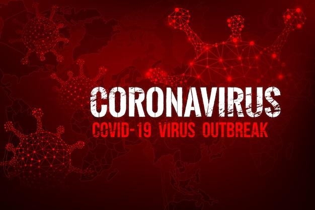 Coronavirus covid-19 tekstuitbraak met de wereldkaart en hud