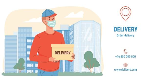Coronavirus covid-beschermingsmaatregelen - online bestellen, gezichtsmasker dragen, medisch concept