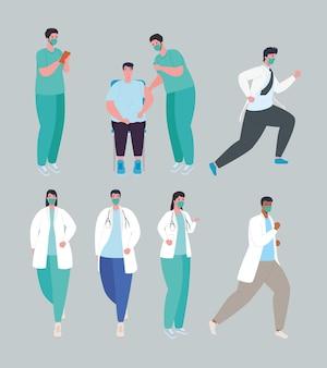 Coronavirus covid19-vaccin, groep artsen en patiënt die medische maskerillustratie dragen
