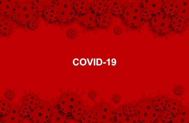 Coronavirus, covit-19-virus. medisch gezondheidszorgconcept. coronavirus op rode achtergrond. papier kunststijl. vector.