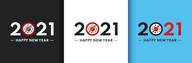 Coronavirus-crash. set van gelukkig nieuwjaar met nullen als bacteriën coronavirus.