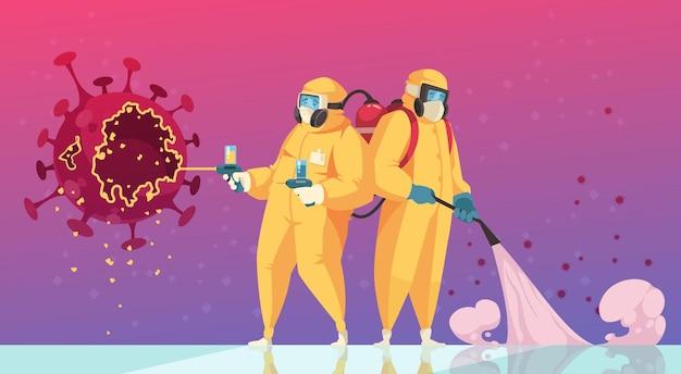 Coronavirus desinfectie concept
