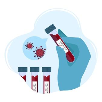 Coronavirus - doctor's hands met positieve bloedonderzoekbuizen voor covid-19