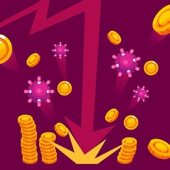 Coronavirus economie impactconcept Gratis Vector