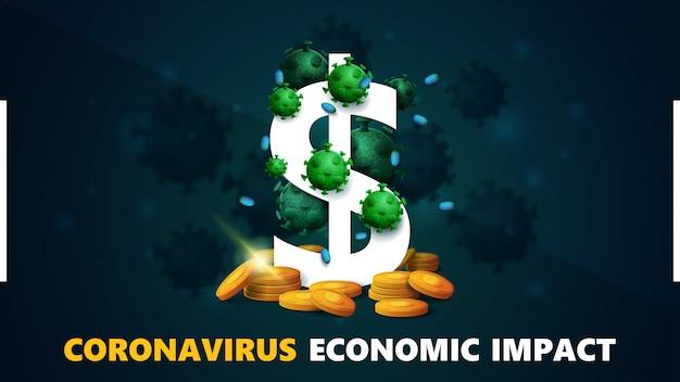 Coronavirus economische impact, banner met driedimensionaal wit dollarteken met gouden munten eromheen en omgeven door coronavirusmoleculen