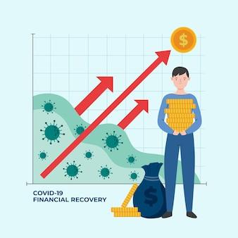 Coronavirus financieel herstel grafiek met man