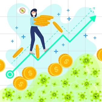 Coronavirus financieel herstel met grafiek