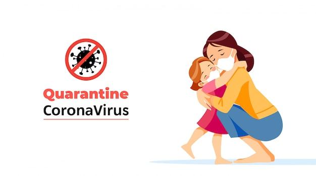Coronavirus. geen infectie in quarantaine plaatsen en coronavirus-concepten stoppen. moeder en kind zitten thuis op zelfquarantaine. familie in quarantaine geplaatst coronavirus in beschermende maskers. normaal leven in isolatie
