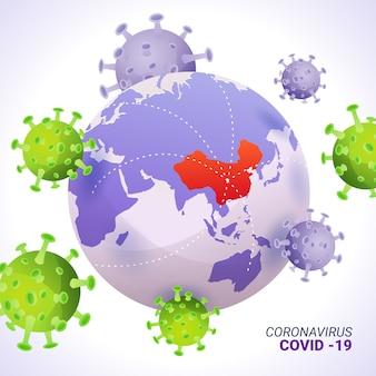 Coronavirus globe-stijl
