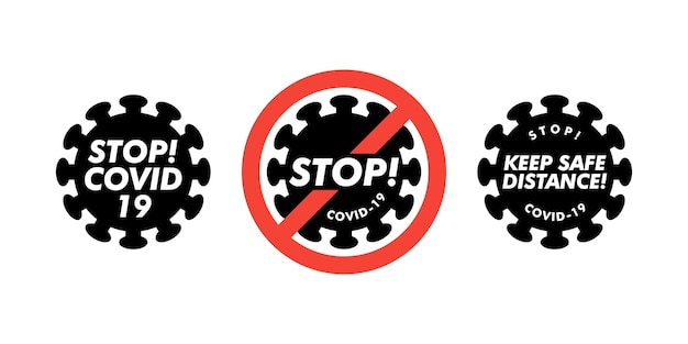 Coronavirus icon set met rood verbodsteken, 2019-ncov nieuwe coronavirusbacteriën. geen infectie en stop coronavirus-concepten. gevaarlijke coronavirus-cel. geïsoleerde vector icon