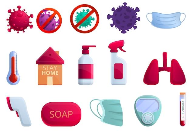 Coronavirus iconen set, cartoon stijl