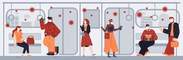 Coronavirus-infectie verspreid in metro, cartoon mensen in het openbaar vervoer