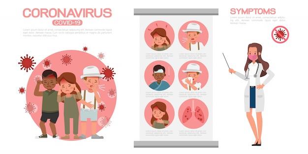 Coronavirus infographic aanwezig door stripfiguur ontwerp no2