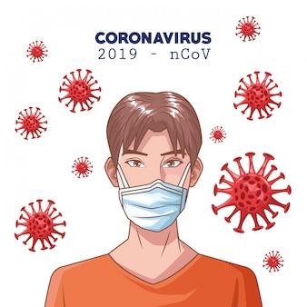 Coronavirus infographic met man met behulp van masker