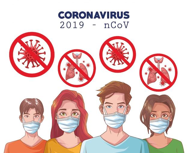 Coronavirus infographic met mensen die masker gebruiken