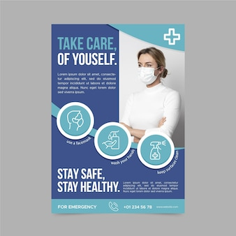 Coronavirus informatieve postersjabloon met foto